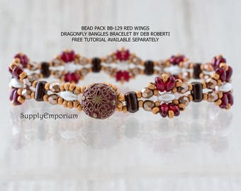 Bead Pack BB-129 Red Wings Dragonfly Bracelet, Free Tutorial by Deborah Roberti Available Separately, BB129 Red Wings Dragonfly Bracelet