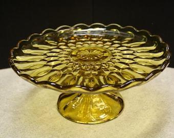 Vintage Amber Pedestal Cake Plate