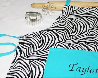 Personalized Zebra and Turquoise Youth Apron - made to order