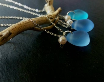 Mermaid Sea Glass Necklace Sea Glass Jewelry Mermaid Jewelry Boho Beach Glass Necklace Seaglass Jewelry Beach Wedding  Sea Glass Necklace