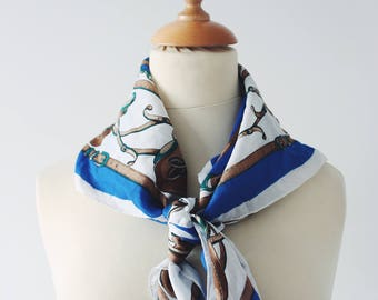 Blue patterns vintage scarf equestrian