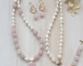Long Rose Quartz and Freshwater Pearl Necklace with Pendant