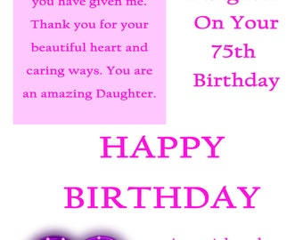 Daughter 75 Birthday Card with removable laminate