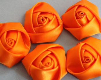 Rosebud flower orange fabric scrapbooking