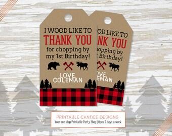 Lumberjack favor tags, Lumberjack gift tags, Lumberjack Decor, Personalized Favor Tags, Buffalo plaid, Printable