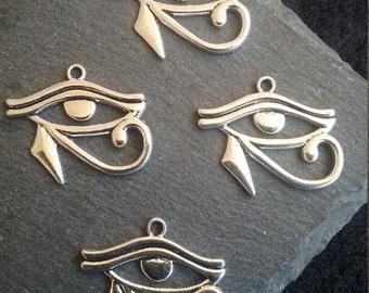4 Eye of Horus Charms Egyptian Antique Silver Tone