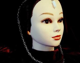 Mystische Opalite Elf Tiara   Kopfschmuck - Goth gotischen Fantasie Elfen Krone Elfen Kopfbedeckungen Opal Mond