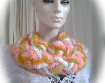 Russet, Pink and Baby Blue Crochet Cowl Scarf