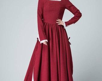 burgundy dress, Linen Dress, long sleeve dress, long linen dress, Spring Dress, square neck dress, slit dress, linen maxi dress 1473