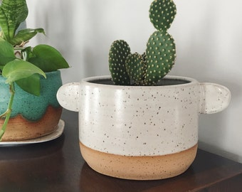 Large Good Listener Planter - speckled planter white glaze and little listening ears, ceramic plant pot white stoneware flower pot with drai