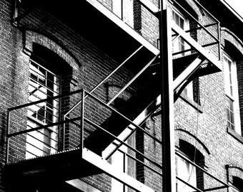 "Black and White Photography - Architecture Photograph, Cityscape, Urban Building, Fire Escape,  5x7 inch Print -  ""Restoration"""