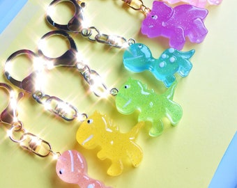 Glow in the dark glitter resin dinosaur keychains, kawaii bag charm