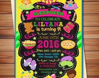 Sleepover Birthday party Invitations, Sleepover, slumber, pajama party digital chalkboard invitation, Thank you card free!