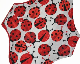 Light Core- Ladybugs Reusable Cloth Pantyliner Pad- WindPro Fleece- 8.5 Inches