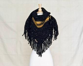 Hand Knit Triangle Fringe Scarf - Black Tweed|Mustard