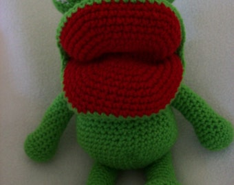 Freddy the Frog stuffed animal,Hand Crochet, Stands 12 in,Sitting 8 in.Safe for all ages