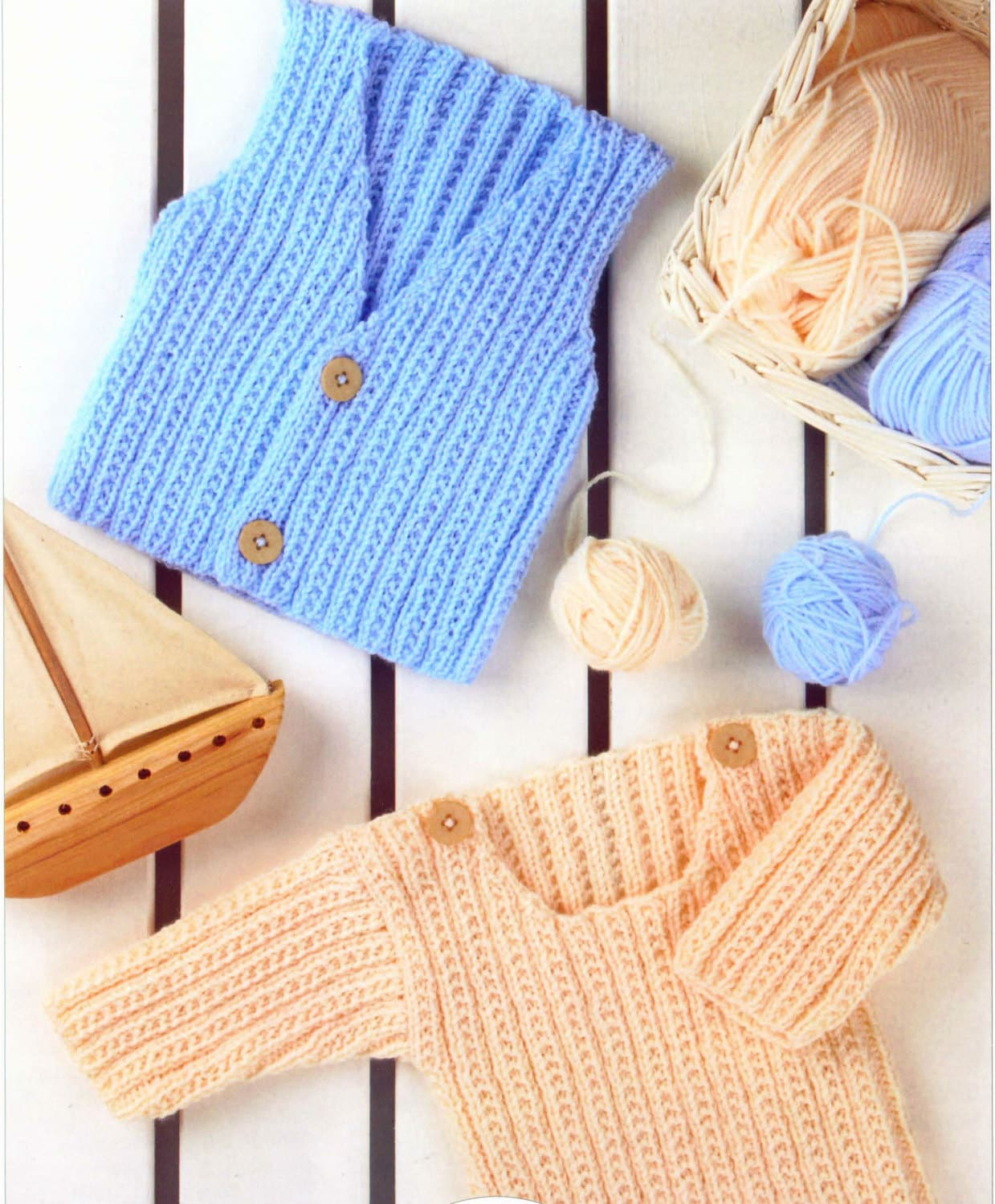 Knit Baby Child Sweater and Vest Vintage Knitting Pattern Newborn to ...