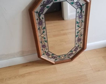 Floral Mirror, Wood Framed Flower & Vines Mirror