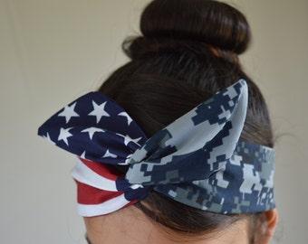 US Navy girlfriend, Navy Headband - Navy Girlfriend - Navy Headband - Hair Bows - Flag Headband - Dollybow Headband - A2