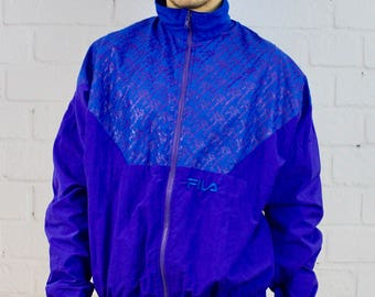 Mens Vintage 90s Fila Purple Grape Print Track Jacket Windbreaker