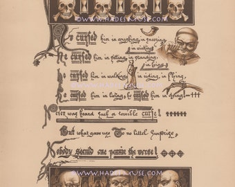 Terrible Curse-Magic Spell-Skull-Skeleton-Rare Scarce Art-Poem-1870 Old Antique Vintage Print-Gothic Picture-Cursed-Poetry-Monk-Death-Witch