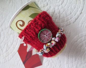Coffee Cozy Knitted, Red Coffee Cozy,  Tea Cozy