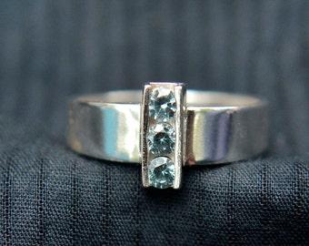 Blue Zircon Ring, Sterling Silver Ring with 3 Channel Set Blue Zircon Gemstones, December Birthstone