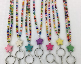 Beaded Lanyard, Beaded Badge Holder, Multi-colored, Stars, Nurse, Teacher, Badge Necklace