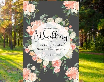 Printable Wedding Sign, Wedding welcome sign in charcoal color with watercolor floral blooms.  Digital file print ready