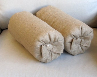 Pair of light natural burlap Bolsters pillow with bow
