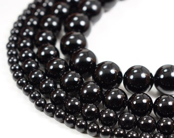 "Natural Black Agate Beads Polished 4mm 6mm 8mm 10mm 12mm Genuine Natural Stones, 15.5"" Full Strand Wholesale"