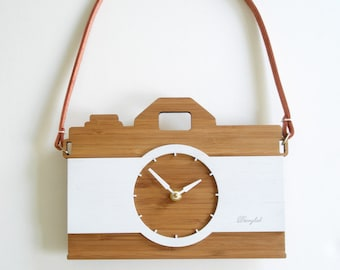 Camera clock with leather strap wall hanging clock