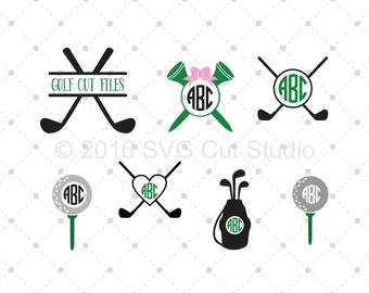 Golf SVG Cut Files, Golf Monogram Frame SVG Cut Files for Cricut, Silhouette and other Vinyl Cutters, svg files