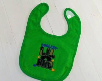 Coolest little bro green embroidered terri cloth baby bibs for boy