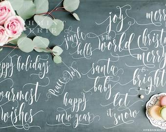 Holiday overlays - photo overlays - christmas overlays - christmas card overlays - calligraphy text overlays - christmas typography