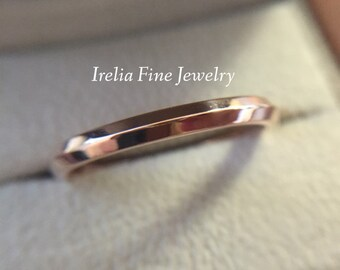 10k Rose or White Gold 2.5 mm Wedding Band Highly Polished Knife Edge Band Comfort Fit Inside  **made to order