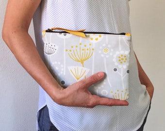 Clutch cotton bag, cotton clutch, yellow clutch, handmade clutch, clutches for women, yellow clutch,
