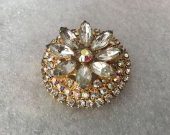 Vintage Clear and Clear AB Rhinestone Flower Circle Brooch 1509