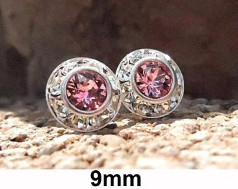 Light Rose Studs, Crystal Silver Earrings, Swarovski, Rhinestone Stud Earrings, Pink Crystal Earrings, Rhinestone Studs, Crystal Jewelry