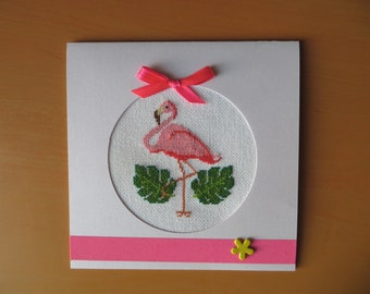 Hand embroidered card: Flamingo - birthday or mother's day