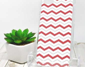 Gray Red Chevron iPhone 7 Case - Pattern with Alternating Red Gray and White Zigzags - iPhone 7 Plus Case