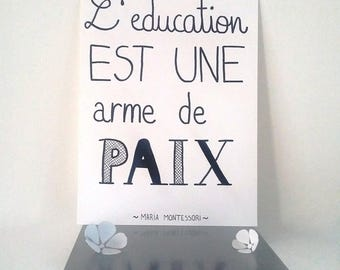 "inspirational ""education is a weapon of peace""hand illustrated poster"