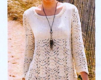 "Vintage Knitting Pattern pdf. Women's Wavy Lace Tunic Knitting to fit 35, 39, 45, 50.5"" chest,"
