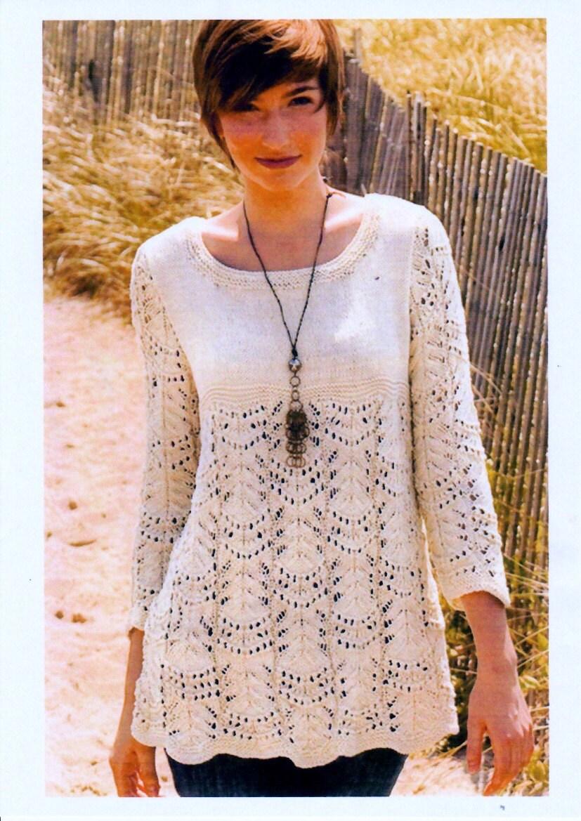 Vintage Knitting Pattern pdf. Women\'s Wavy Lace Tunic Knitting to ...