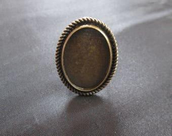 Adjustable ring bronze cabochon 25 x 18 mm
