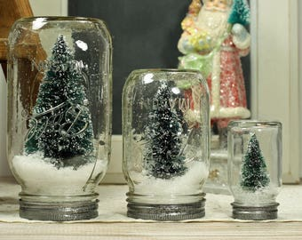 "3"" Mason Jar Dry Snow Globe Bottlebrush Tree Upcycled Christmas Decor Table Centerpiece"