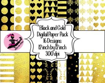 Black and Gold Digital Paper Pack- 16 Sheets- Instant Download