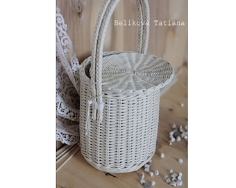 Jane Birkin Basket,Birkin Basket bag,  Handmade Bag, Summer bag, basket with a Lid,  Round Wicker Basket, Basket Purse, Round Basket,