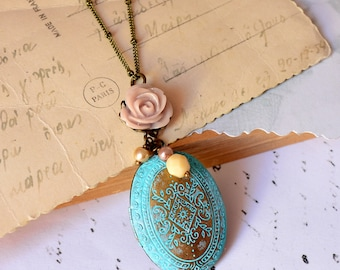 Victorian Locket  christmas gift for her xmas romantic rustic