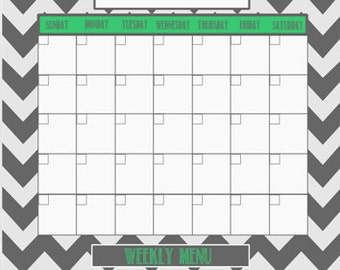 Personalized Chevron Dry Erase Family Calendar With Weekly Menu